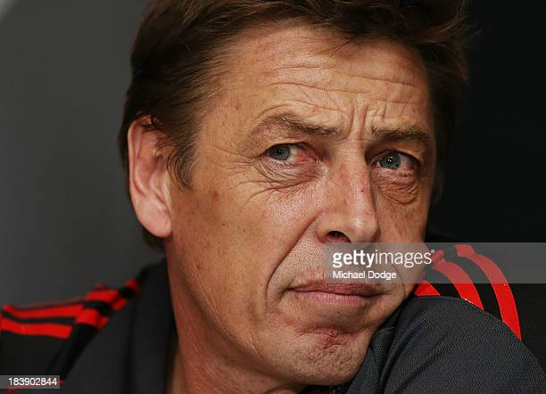 New Bombers coach Mark Thompson looks ahead during an Essendon Bombers AFL press conference at Windy Hill on October 10 2013 in Melbourne Australia