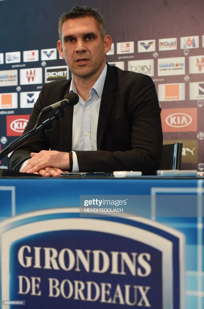 New Bordeaux' head coach Jocelyn Gourvennec gives a press conference On May 30, 2106 in Le Haillan, near Bordeaux, southwestern France. Jocelyn Gourvennec has quit his coaching job at Guingamp and agreed terms instead with Ligue 1 rivals Bordeaux, the two clubs said on May 30, 2016. / AFP / MEHDI