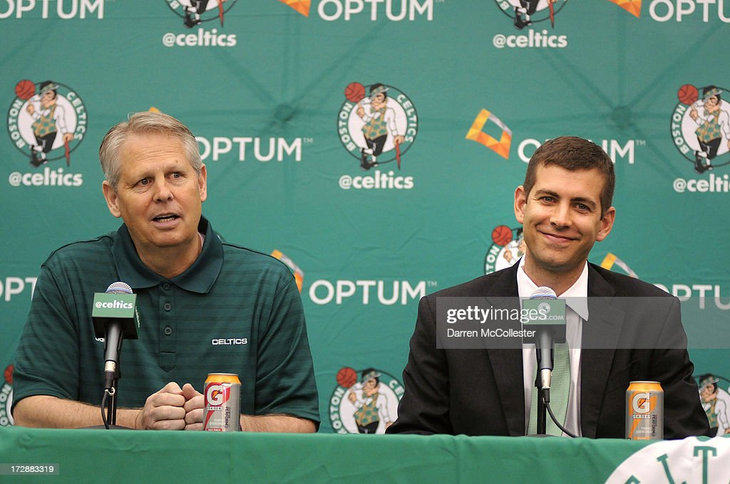 New Boston Celtics head coach <a gi-track='captionPersonalityLinkClicked' href=/galleries/search?phrase=Brad+Stevens&family=editorial&specificpeople=5022542 ng-click='$event.stopPropagation()'>Brad Stevens</a> (R) is introduced to the media by President of Basketball Operations <a gi-track='captionPersonalityLinkClicked' href=/galleries/search?phrase=Danny+Ainge&family=editorial&specificpeople=504679 ng-click='$event.stopPropagation()'>Danny Ainge</a> July 5, 2013 in Waltham, Massachusetts. Stevens was hired away from Butler University where he led the Bulldogs to two back to back national championship game appearances in 2010, and 2011.