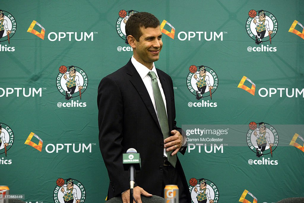 New Boston Celtics head coach <a gi-track='captionPersonalityLinkClicked' href=/galleries/search?phrase=Brad+Stevens&family=editorial&specificpeople=5022542 ng-click='$event.stopPropagation()'>Brad Stevens</a> is introduced to the media July 5, 2013 in Waltham, Massachusetts. Stevens was hired away from Butler University where he led the Bulldogs to two back to back national championship game appearances in 2010, and 2011.