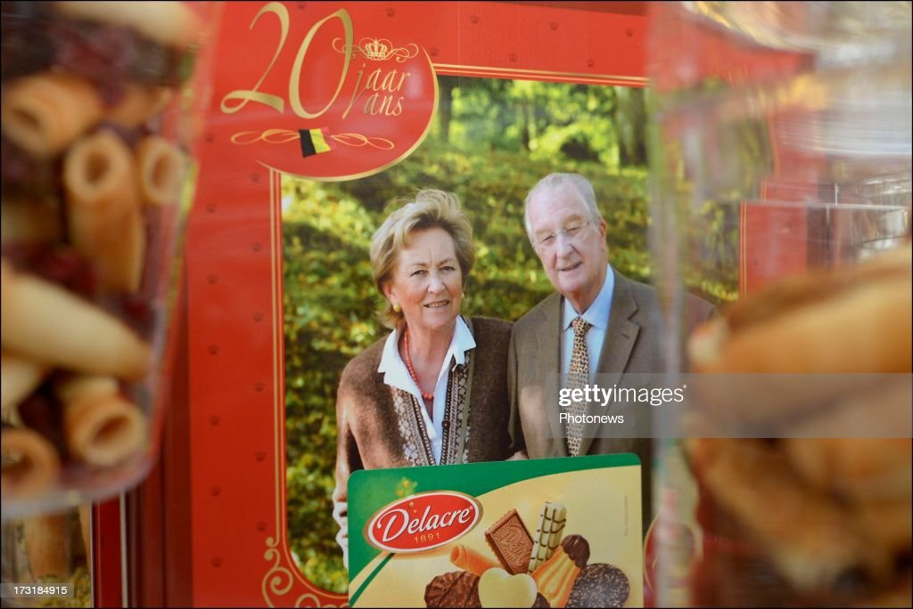 A new box of biscuits marking the 20th anniversary of King Albert II of Belgium's reign produced by the famous Belgian biscuit manufacturer Delacre is displayed on July 9, 2013 in Brussels, Belgium. Belgium's 79 year-old King Albert II announced his abdication from the throne on Wednesday in favour of his son Prince Philippe due to health reasons and old age affecting his ability to fulfill his duties.