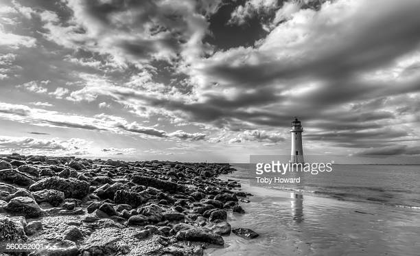 New Brighton lighthouse and shore with clouds