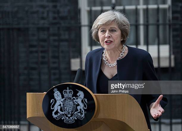 New British Prime Minister Theresa May speaks to the press at 10 Downing Street on July 13 2016 in London England Former Home Secretary Theresa May...