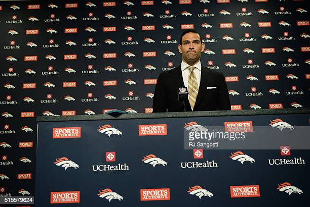 New Broncos quarterback Mark Sanchez is introduced at Dove Valley March 14 2016 Sanchez will get the chance to compete for the job of replacing...