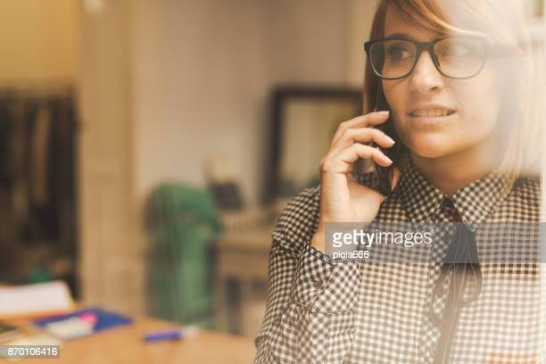 New business: beautiful woman at work