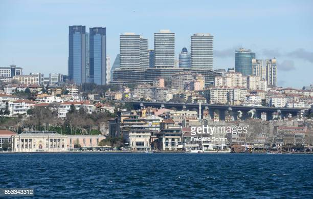 New business district in Istanbul along the Bosphorus on 0ctober 15 2014 in Istanbul Turkey