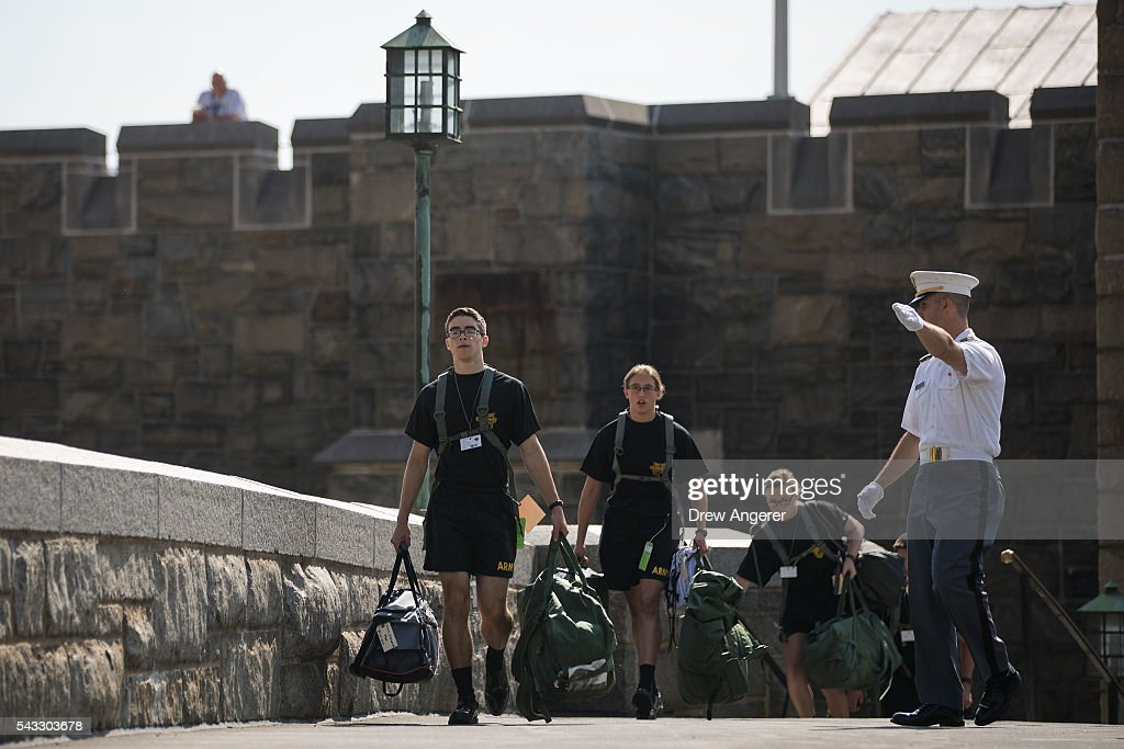 New cadets make their way across campus during the in-processing procedures during Reception Day at the United States Military Academy at West Point, June 27, 2016 in West Point, New York. Reception Day is the day when new cadets report to West Point to begin the process of becoming West Point cadets and future U.S. Army officers. Upwards of 1,300 cadet candidates for the class of 2020 will report to West Point on Monday. The new cadets will begin six weeks of basic training before Acceptance Day in early August.