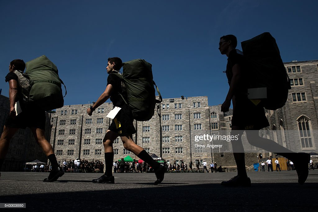 New cadets march in a courtyard on campus during Reception Day at the United States Military Academy at West Point, June 27, 2016 in West Point, New York. Reception Day is the day when new cadets report to West Point to begin the process of becoming West Point cadets and future U.S. Army officers. Upwards of 1,300 cadet candidates for the class of 2020 will report to West Point on Monday. The new cadets will begin six weeks of basic training before Acceptance Day in early August.