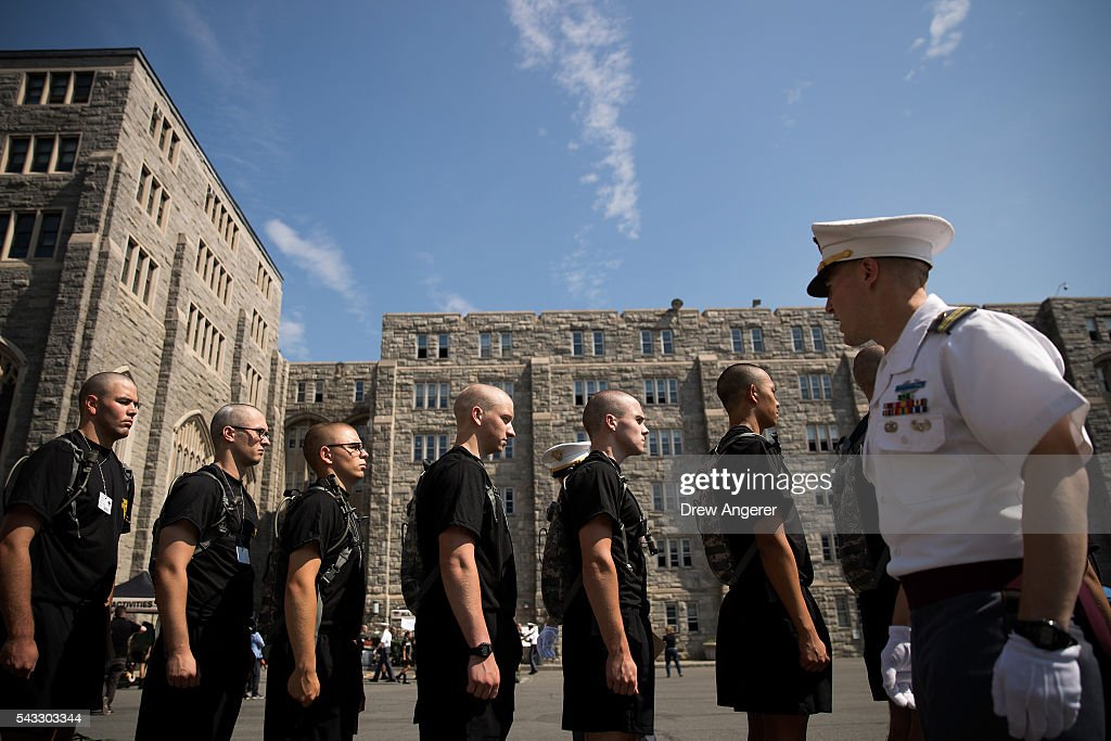 New cadets receive instructions from an older cadet during Reception Day at the United States Military Academy at West Point, June 27, 2016 in West Point, New York. Reception Day is the day when new cadets report to West Point to begin the process of becoming West Point cadets and future U.S. Army officers. Upwards of 1,300 cadet candidates for the class of 2020 will report to West Point on Monday. The new cadets will begin six weeks of basic training before Acceptance Day in early August.