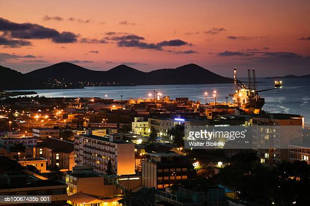 New Caledonia, Grande Terre Island, Noumea, illuminated cityscape at night