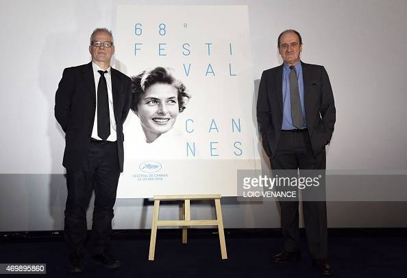 New Cannes Film Festival President Pierre Lescure and the General Delegate of the Cannes Film Festival Thierry Fremaux pose next to the 68th Cannes...