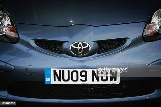A new car for sale on a forecourt in Bristol displays a new 09 style promotional number plate on February 28 2009 in Bristol England Car dealers...