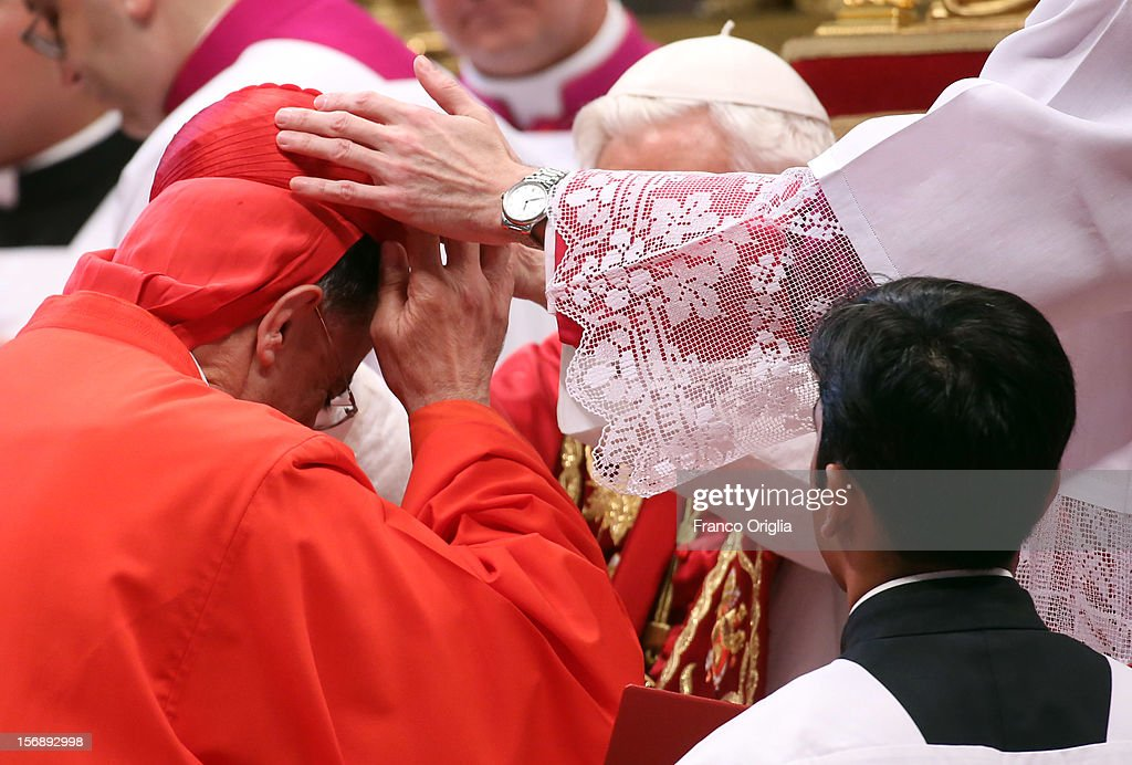 New cardinal, Baselios Cleemis Thottunkal receives the biretta cap from Pope Benedict XVI in Saint Peter's Basilica on November 24, 2012 in Vatican City, Vatican. The Pontiff installed 6 new cardinals during the ceremony, who will be responsible for choosing his successor.