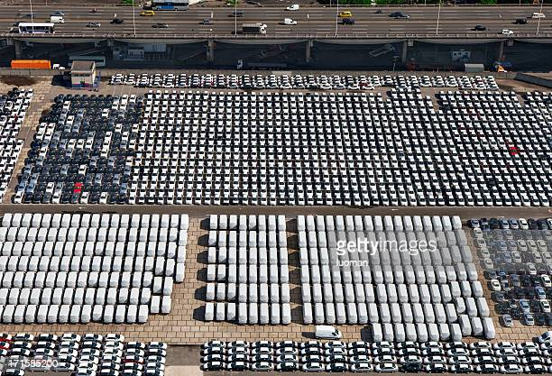 New cars and vans parked in Rio Port