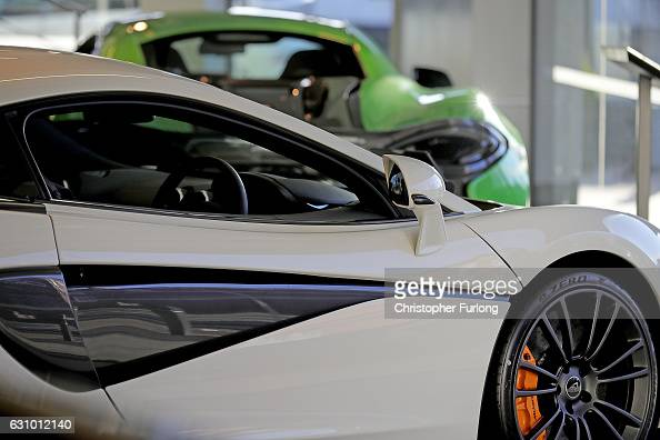 New cars are seen for sale at a McLaren dealership on January 5 2017 in Knutsford England The Society of Motor Manufacturers and Traders have...