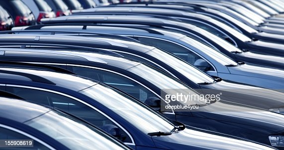 New cars in a row at dealership