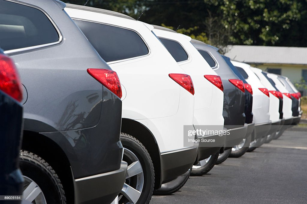 New cars in parking lot : Stock Photo