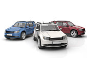 3D rendering of cars on white background.