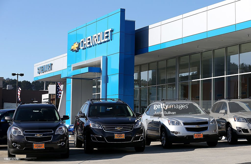 New cars sit on the sales lot of a Chevrolet dealership on January 3, 2013 in Colma, California. Chrylser and General Motors led automakers in the best sales year since 2007. Chrysler's December sales jumped 10% while GM's was up 4.9%.