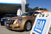 New cars sit on the sales lot of a Chevrolet dealership on January 3 2013 in Colma California Chrylser and General Motors led automakers in the best...