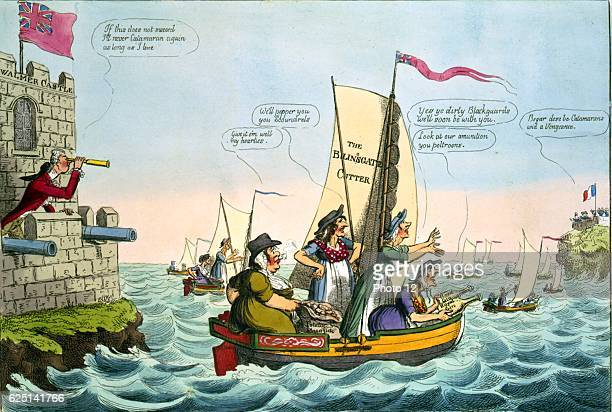 A New Catamaran Expedition William Pitt the Younger British Prime Minister peers to where Napoleon's army waits for French ships to cross Channel