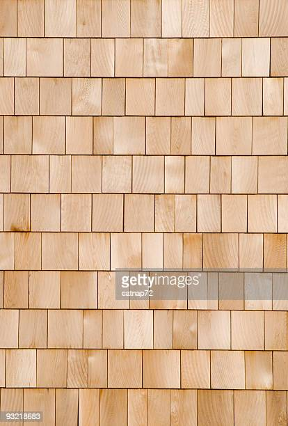 New Cedar Shingle Wall Close Up, Wood Background Design Element
