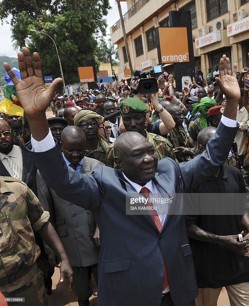 New Central African Republic leader Michel Djotodia arrives on Republic Plaza in Bangui on March 30, 2013 . The Central African Republic's new strongman Michel Djotodia vowed Saturday not to contest 2016 polls and hand over power at the end of the three-year transition he declared after his coup a week ago.