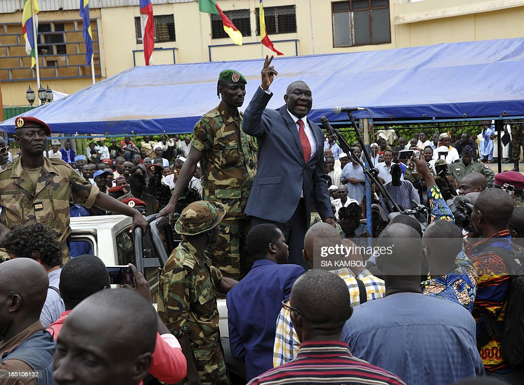 New Central African Republic leader Michel Djotodia speaks on Republic Plaza in Bangui on March 30, 2013 . The Central African Republic's new strongman Michel Djotodia vowed Saturday not to contest 2016 polls and hand over power at the end of the three-year transition he declared after his coup a week ago.