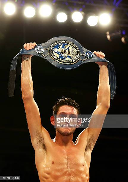 New champion Gavin McDonnell of Great Britain celebrates his victory over Oleksandr Yegorov of Ukraine during the vacant european super Bantamweight...
