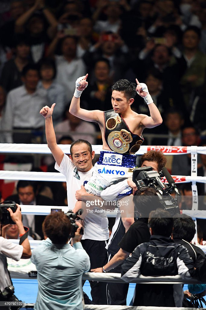 New champion <a gi-track='captionPersonalityLinkClicked' href=/galleries/search?phrase=Kazuto+Ioka&family=editorial&specificpeople=7488576 ng-click='$event.stopPropagation()'>Kazuto Ioka</a> of Japan celebrates winning his WBA World Flyweight Title Bout against Juan Carlos Reveco of Argentina at the Osaka Prefectural Gymnasium on April 22, 2015 in Osaka, Japan.