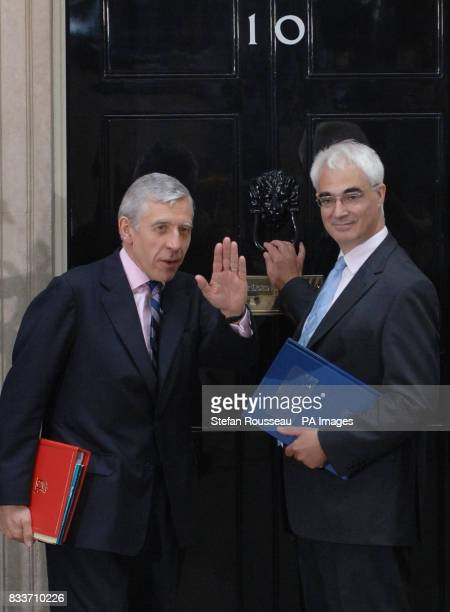 New Chancellor of the Exchequer Alistair Darling and Justice Secretary Jack Straw outside 10 Downing Street London arriving for their first cabinet...