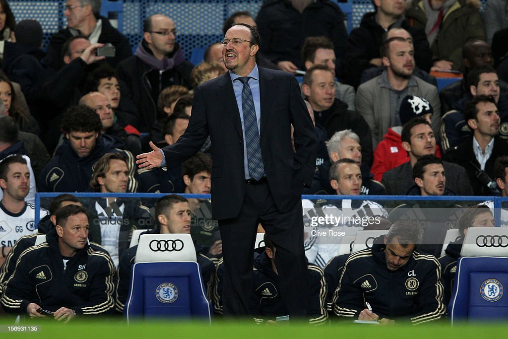 New Chelsea manager Rafael Benitez shouts to his players from the team dug out during the Barclays Premier League match between Chelsea and Manchester City at Stamford Bridge on November 25, 2012 in London, England.