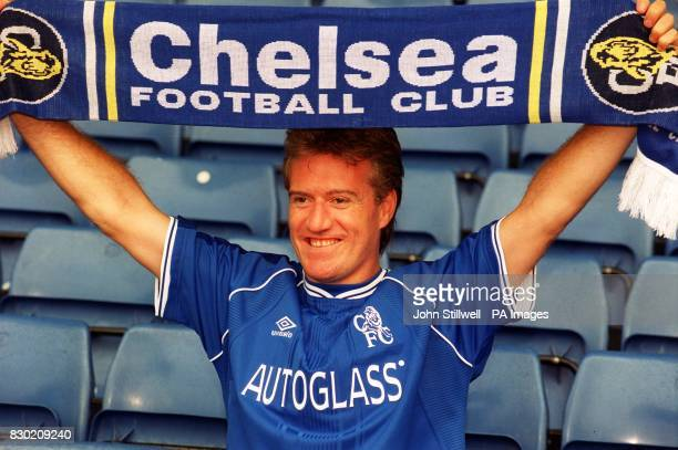 New Chelsea signing and French World Cup winning captain Didier Deschamps at Chelsea's Stamford Bridge to announce his arrival at the London club The...