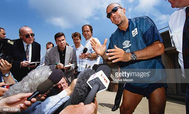 New Chelsea signing Gianluca Vialli speaks to the media after signing from Juventus Circa July 1996 in London England