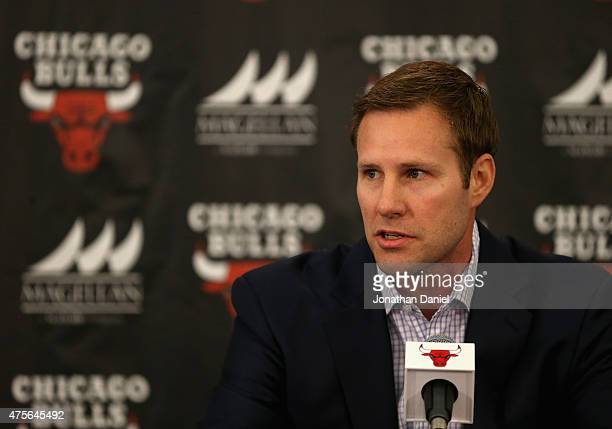 New Chicago Bulls coach Fred Hoiberg speaks at a press conference at the Advocate Center on June 2 2015 in Chicago Illinois NOTE TO USER User...
