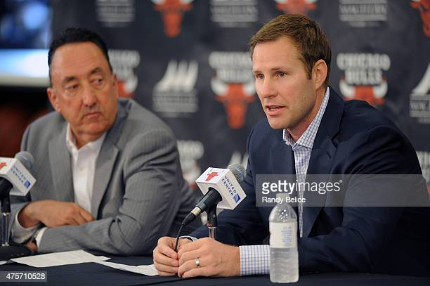 New Chicago Bulls Head Coach Fred Hoiberg responds to a question from the media while General Manager Gar Forman look on during a press conference on...