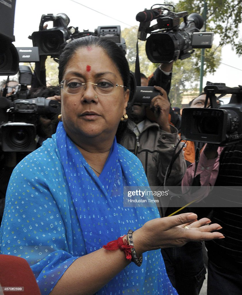 New Chief Minister of Rajasthan Vasundhara Raje after meeting with Prime Minister Manmohan Singh during the ongoing Parliament Winter Session on...