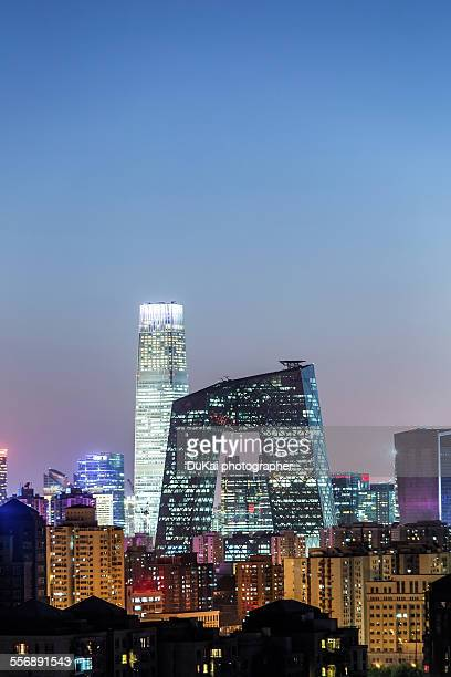 New China Central Television CCTV building at nigh