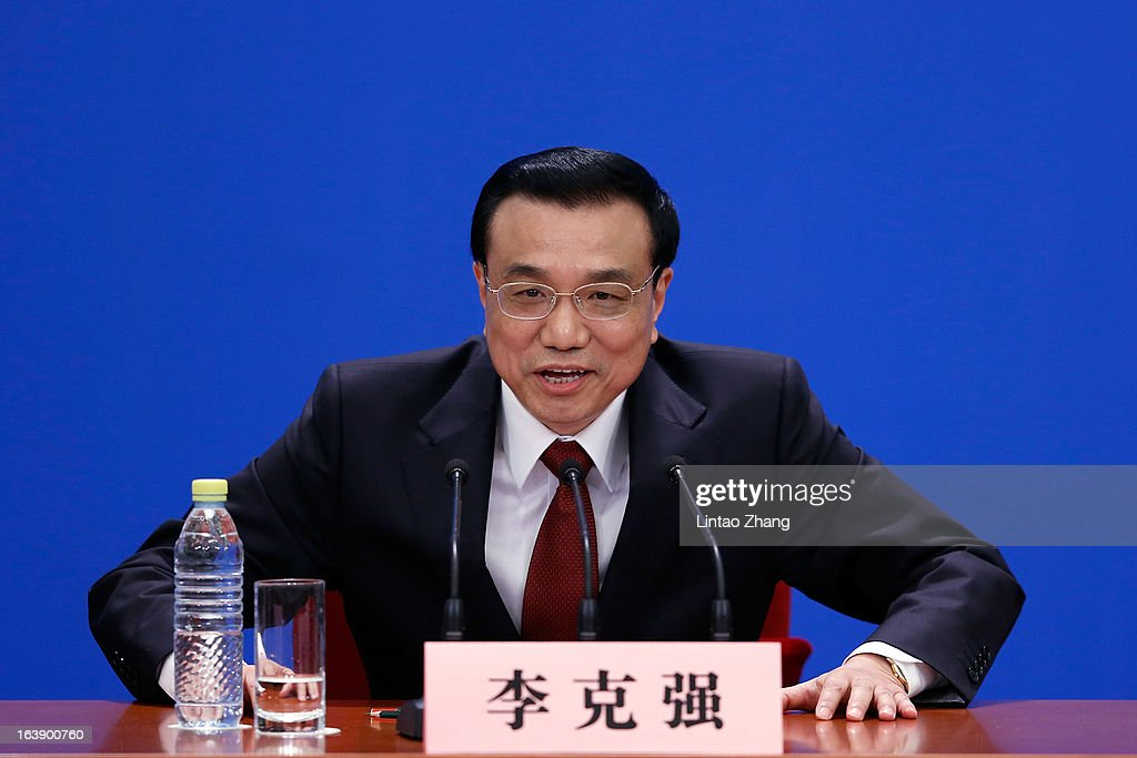 New Chinese Premier Li Keqiang attend his first press conference after the closing session of the National People's Congress (NPC) at the Great Hall of the People on March 17, 2013 in Beijing, Li Keqiang was elected as China's Premier last Friday at the 12th National People's Congress, the country's top legislature.