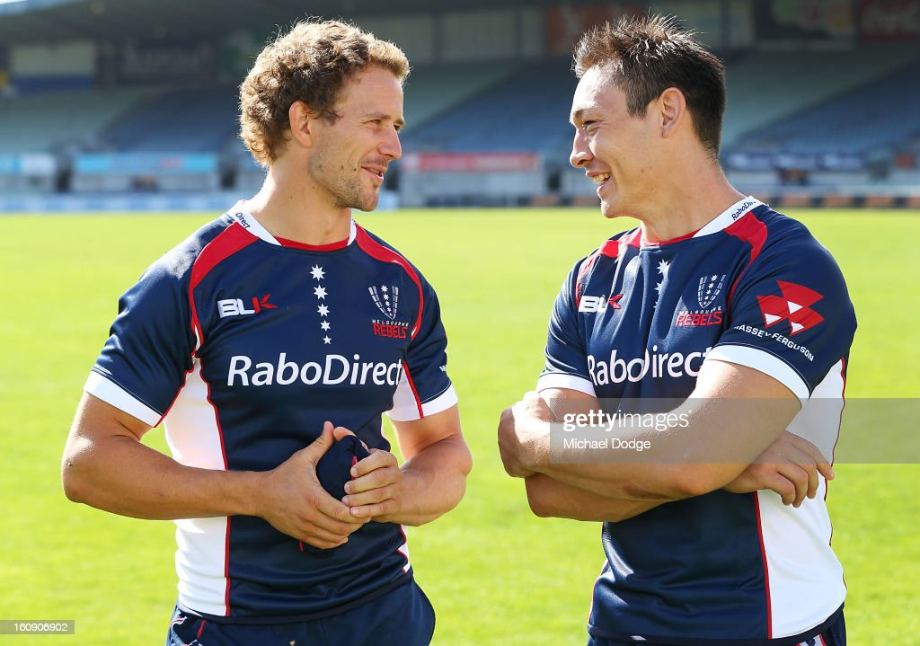 New Club Captain Tim Davidson (L) and new team Captain Gareth Delve talk during the Melbourne Rebels 2013 captaincy announcement at Visy Park on February 8, 2013 in Melbourne, Australia.