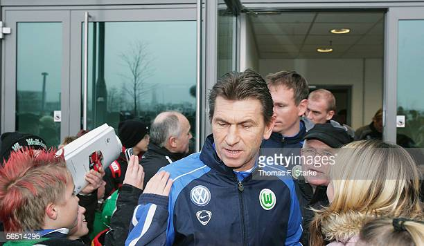 New Coach Klaus Augenthaler is welcomed by fans ahead of the training session of Bundesliga club VfL Wolfsburg on January 03 2006 in Wolfsburg Germany
