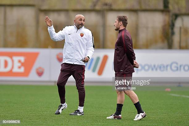 New coach of AS Roma Luciano Spalletti and Francesco Totti during a training session on January 14 2016 in Rome Italy