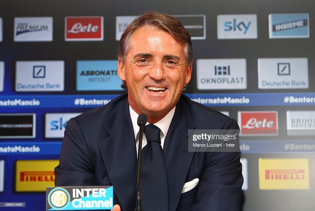 New coach of FC Internazionale Milano <a gi-track='captionPersonalityLinkClicked' href=/galleries/search?phrase=Roberto+Mancini&family=editorial&specificpeople=234429 ng-click='$event.stopPropagation()'>Roberto Mancini</a> speaks to the media during a press conference at the club's training ground on November 15, 2014 in Appiano Gentile Como, Italy.
