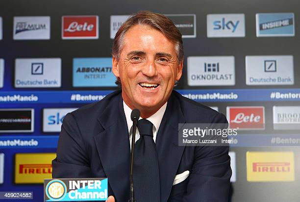 New coach of FC Internazionale Milano Roberto Mancini speaks to the media during a press conference at the club's training ground on November 15 2014...