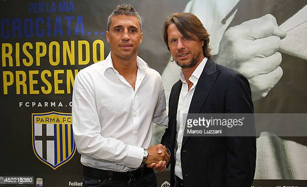New coach of Parma FC juvenile Hernan Crespo and Francesco Palmieri during a press conference at the club's training ground on July 16 2014 in...