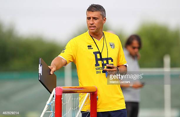 New coach of Parma FC juvenile Hernan Crespo issues instructions to his players during FC Parma Training Session at the club's training ground on...