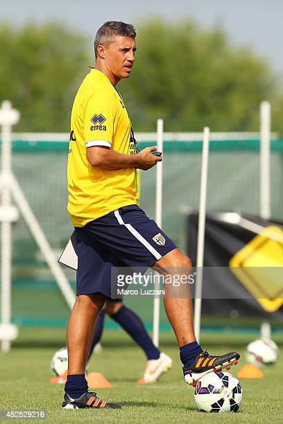 New coach of Parma FC juvenile Hernan Crespo looks on during FC Parma Training Session at the club's training ground on July 22 2014 in Collecchio...