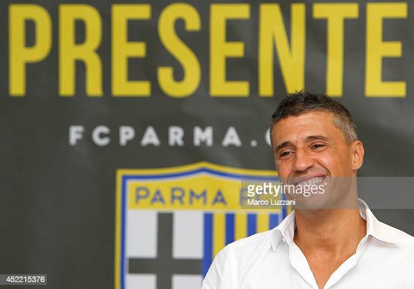 New coach of Parma FC juvenile Hernan Crespo speaks to the media during a press conference at the club's training ground on July 16 2014 in...
