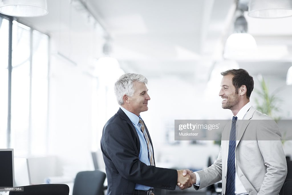 New colleagues shaking hands : Stock Photo