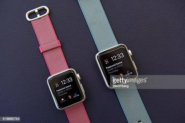 New colored woven nylon bands for the Apple Watch are displayed after an Apple Inc event in Cupertino California US on Monday March 21 2016 Apple Inc...